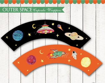 Outer Space Cupcake Wrappers Printable for Outer Space Birthday. UFO and Spaceship Cupcake Liners. Space Party Cupcake. INSTANT DOWNLOAD