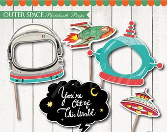 Outer Space Props digital printable. Outer Space Birthday. DIY Space Photobooth Props. Outer Space Party Astronaut Props. Spaceship. DIGITAL