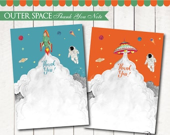 Outer Space Thank You Notes DIGITAL Printable. Outer Space Birthday. Outer Space Party. DIY Outer Space Blank Card. Astronaut Party. DIGITAL