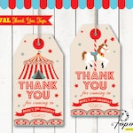 Carnival Thank You Tags for Carnival Birthday. DIY Circus Party Printables in 2 designs! Personalized Circus Favor Tags for Circus Birthday