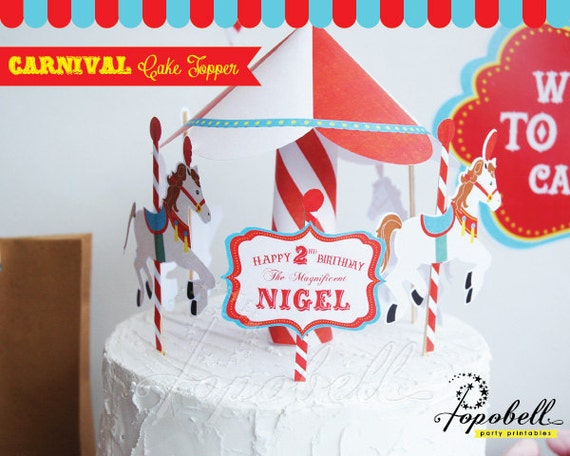 Astonishing Circus Cake Topper For Circus Birthday Party Carousel Cake Topper Personalised Birthday Cards Bromeletsinfo