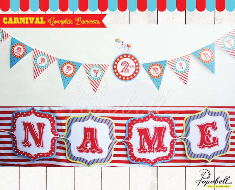 Complete Circus Banners with for Circus Birthday. DIY Carnival image 0
