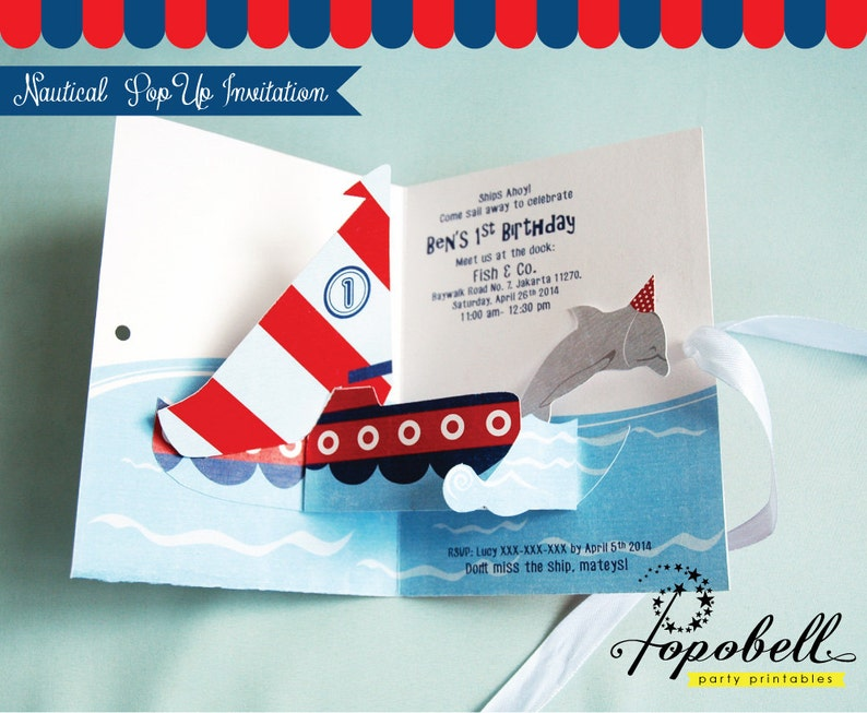 Nautical Invitation. DIY Pop Up Invitation for Nautical image 0