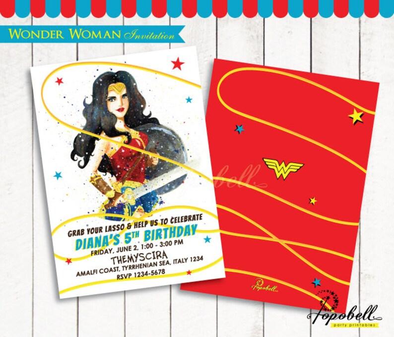 graphic regarding Wonder Woman Printable called Ponder Female Invitation Printable for 2017 Question Girl birthday bash. Gal Gadot Invitation Printable for Marvel Lady Get together. Electronic PDF