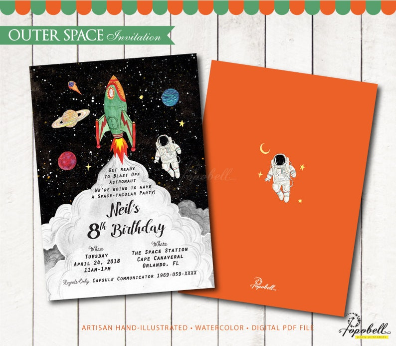 Outer Space Invitation Printable. Astronaut birthday. Boy image 0