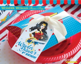 Wonder Woman Favor Tags for Wonder Woman Birthday. DIY Wonder Woman Tags Printable in 2 designs! Personalized Thank You Tags. Digital