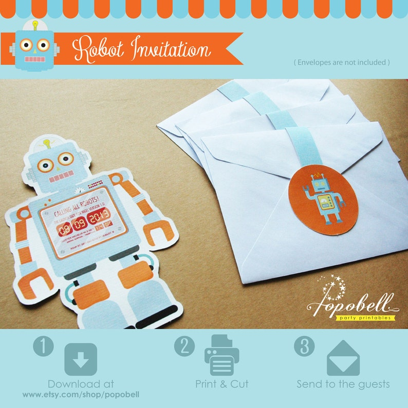 Robot invitation for robot birthday party. Personalized image 0