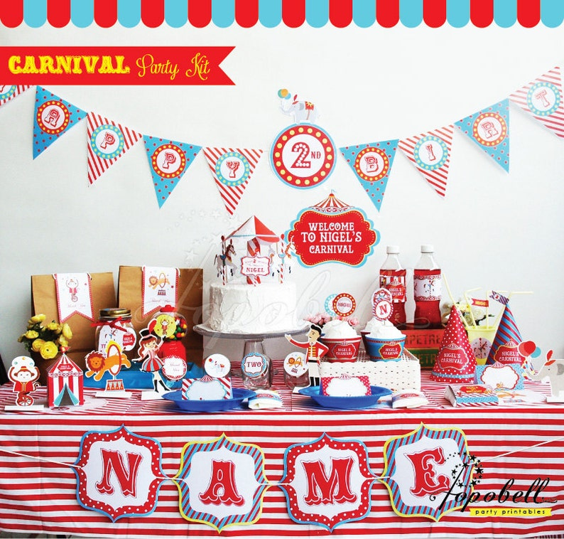 Circus Party Kit. Complete Set Carnival Party Printables. DIY image 0