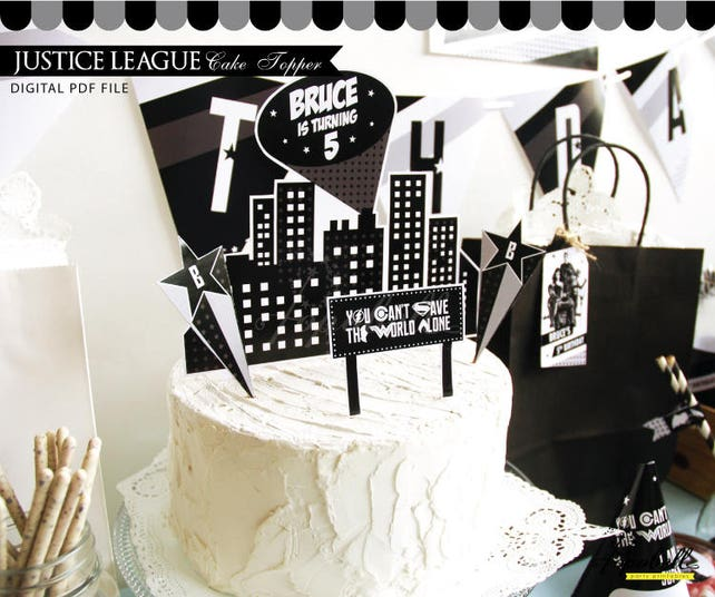 Justice League Cake Topper Birthday Gotham City Superhero Centerpiece Printable DIGITAL