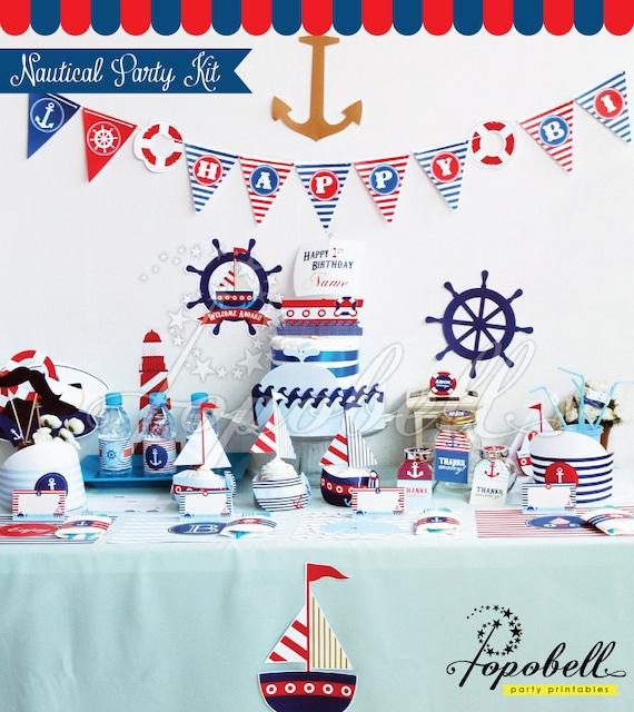 nautical party kit digital printables complete set party printables