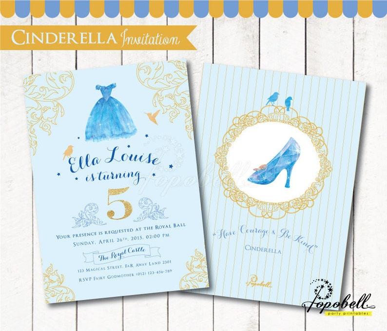 Cinderella Invitation for Cinderella birthday party. image 0