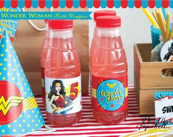 Wonder Woman Bottle Wrappers Printable for Wonder Woman Birthday Party. Personalized Wonder Woman Bottle Labels. Wonder Woman Party. Digital