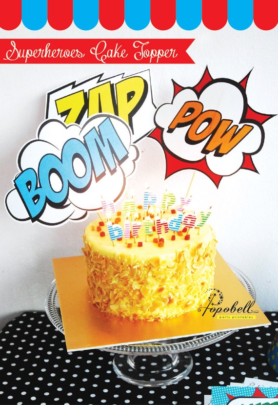 Awesome Superhero Cake Topper For Avengers Birthday Party In 3 Etsy Personalised Birthday Cards Veneteletsinfo