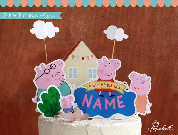 Astonishing Peppa Pig Cake Topper Printable Peppa Pig Birthday Peppa Pig Funny Birthday Cards Online Overcheapnameinfo
