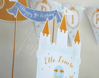 Cinderella Cake Topper for Cinderella Birthday Party. Castle Cake Topper for Princess Birthday. DIY Castle Centerpiece printable. DIGITAL.