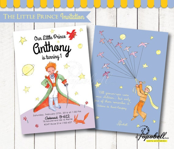 The Little Prince Invitation For The Little Prince Birthday Etsy