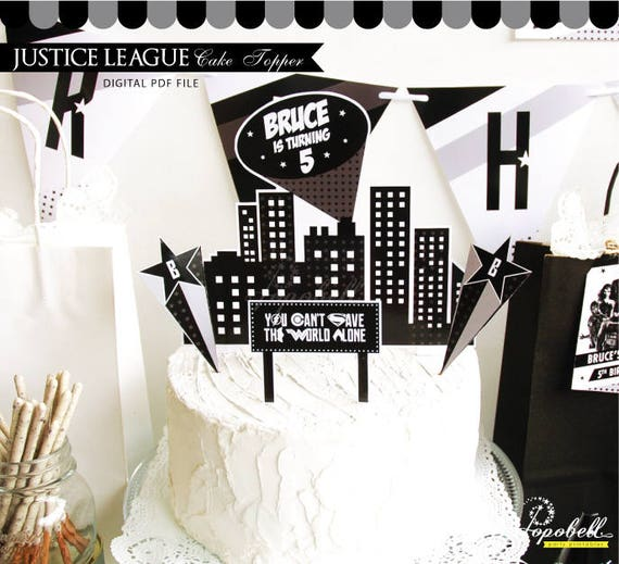 Awesome Justice League Cake Topper Justice League Birthday Gotham City Funny Birthday Cards Online Necthendildamsfinfo