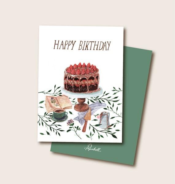 Happy Birthday Card Chocolate Cake Card Retro Birthday Greeting