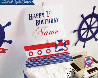 Nautical Cake Topper for Nautical Birthday Party. Personalized Nautical Centerpiece for Nautical Birthday Cake. DIY Nautical Printable.