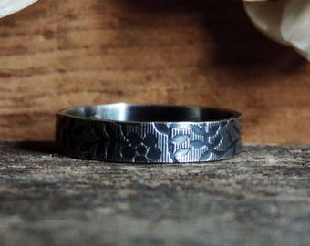 Sterling Silver Stacking Ring Band | Flat Stax - Etched Floral Leaf Pattern | Oxidized Brushed Finish, Antiqued, Custom // Made to Order