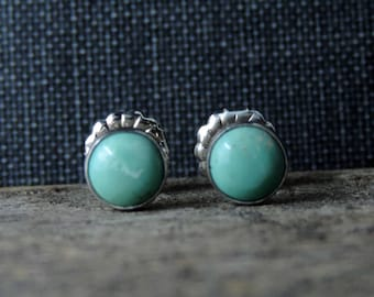 Turquoise Stud Earrings | Kingman Mine | Sterling Silver + 6mm Turquoise, Oxidized Brushed Finish, Swirl Back, Ready To Ship