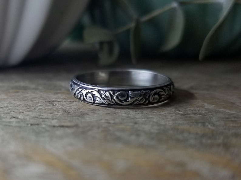 Custom  Made to Order Floral Stacking Ring Promise Ring Anniversary Gift for Her Engagement Ring Wedding Ring Sterling Silver Ring
