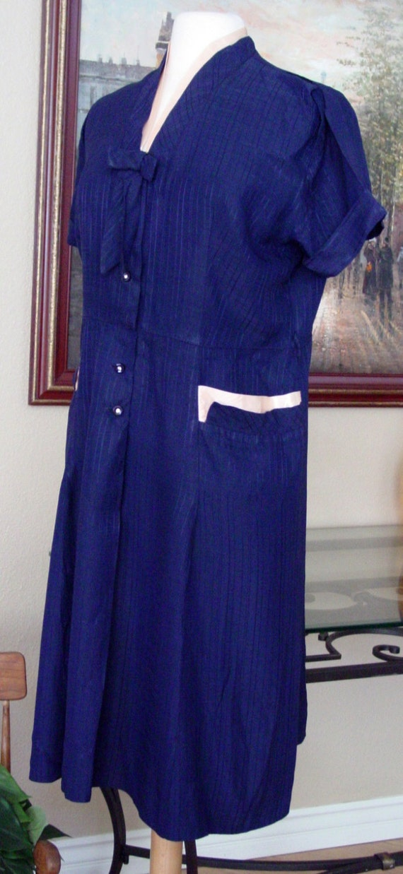 1940's Navy Blue and Pink Dress, Dapper Day, Tea P
