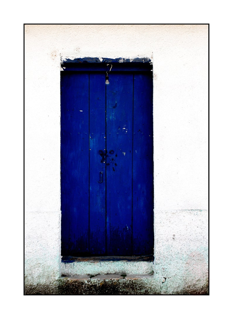 Mexico Blue Wooden Door And White Wall Color Photography Latin America Decor Printable Digital Instant Download