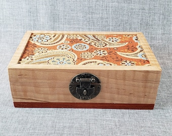 His or Hers vintage upcycled jewelry box valet with denim stripes and paisley print papers gift for her or him