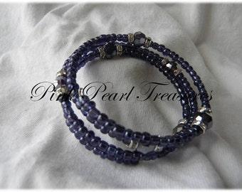 Purple beaded coil bracelet