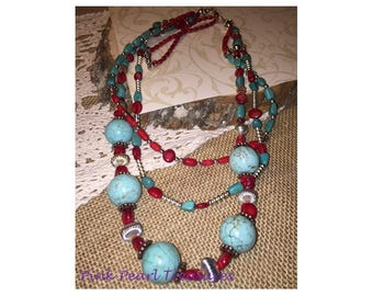 Turquoie and Coral 3-strand Necklace
