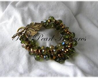 Green Forest Braid beaded bracelet