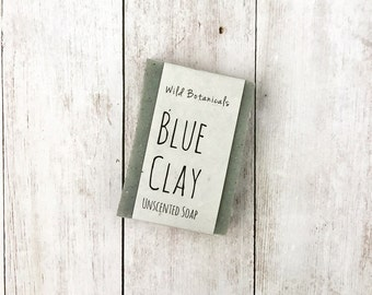 Blue Clay Soap , Organic, All Natural, Unscented, Vegan, Handmade, Cold Process Soap,  Wildflower Seed Paper