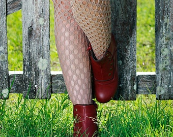 Beige Hand Dyed Crochet Nylon Stockings Pantyhose Tights Size 10-12