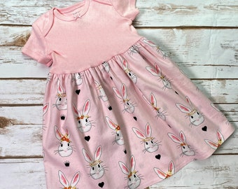 Pink Floral-Size 3-6 months Baby dress designed to fit over a Pavlik Harness
