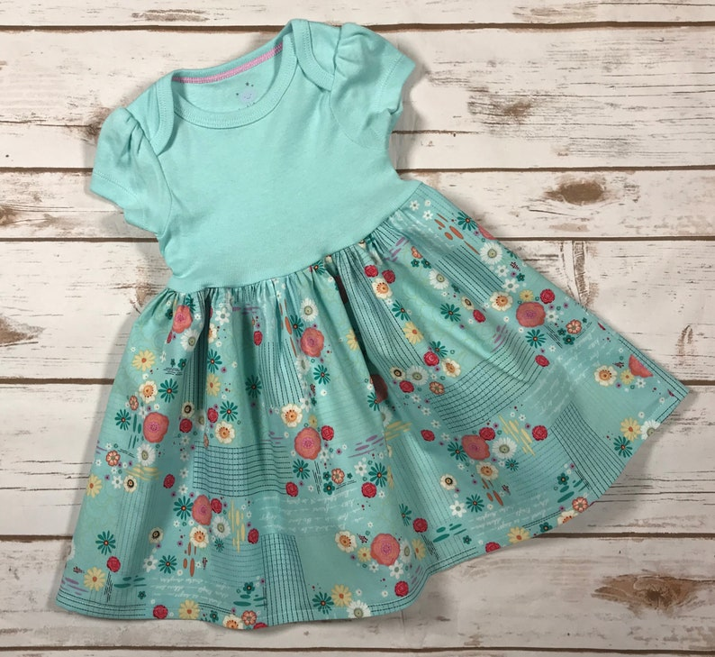 Baby dress designed to fit over a Pavlik Harness-Flower Print-Size 0-3 months