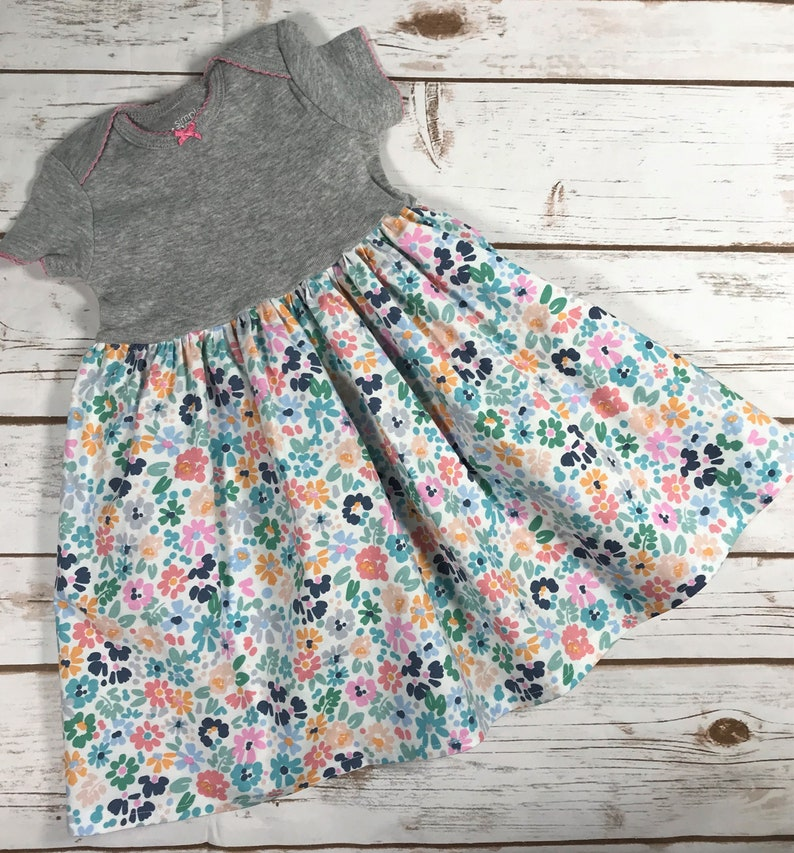 Baby dress designed to fit over a Pavlik Harness-Pastel Floral-Size 3-6 Months