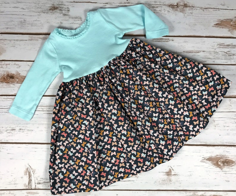 Baby dress designed to fit over a Pavlik Harness-Butterflies-3 Months