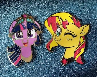 e83461c60250 My Little Pony Set of 2 Enamel Pins Sunset Shimmer & Twilight Sparkle