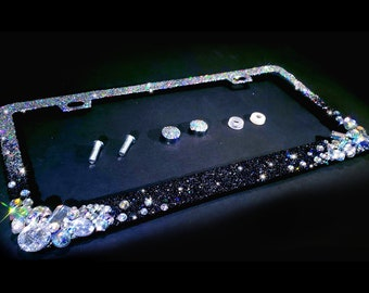 SUPER BLING CLEAR CRYSTAL Sparkle Rhinestone License Plate Frame and Screw Caps