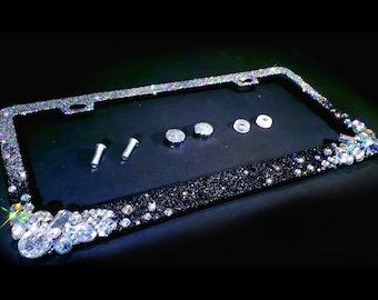 Frame BIG HOT PINK Rhinestone Crystal Diamond Bling License Plate BLACK Metal