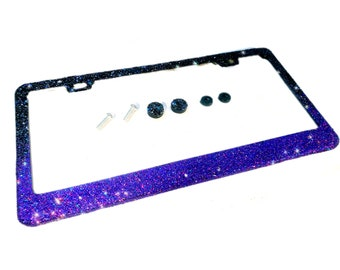 60b4d7357ab Ombre Bling license plate frame black purple violet glitter gradation made  in usa handmade diamond rhinestone holder screw caps bedazzling