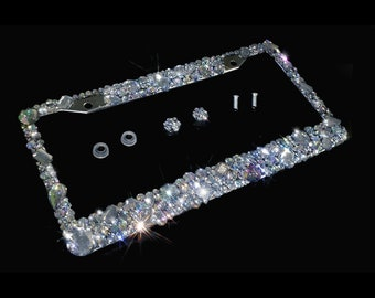 d4fa23a9629 3D Bling license plate frame AB clear crystals hand made in America diamond rhinestone  holder anti theft screw caps numberplate