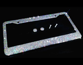 Dazzling Bling license plate frame silver big glitter clear made in usa handmade diamond holder screw caps bedazzled number plate