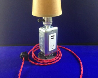 Bedside lamp with usb charging ports.