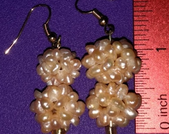 Peach Cluster Pearl Earrings