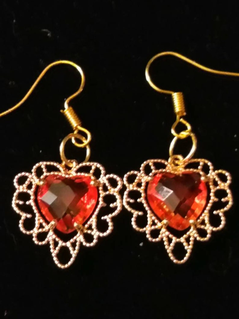 Red faceted crystal heart earrings