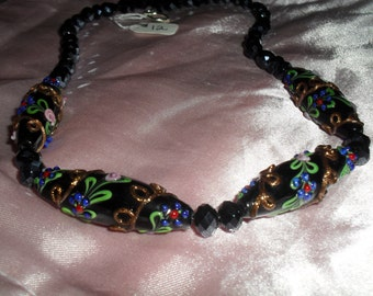 Black floral necklace