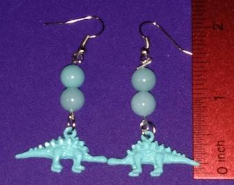 Light Blue Stegasaurus Dinosaur Earrings