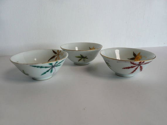 Sake cups - Japanese antique porcelain - set of five - Kyo-yaki - maple  leaves - WhatsForPudding #1516